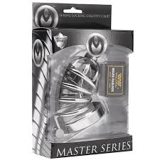 Master Series ASYLUM- 4 Ring Locking Chastity Cage