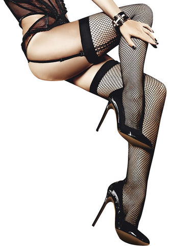 baci afterdark FISHNET THIGH HIGH WITH BACK SEAM