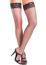 Be Wicked Stay up fishnet thigh highs with lace top