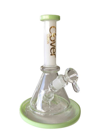 CLOVER Green & White Glass Water Pipe