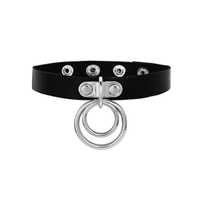Love in Leather Choker with 2 Silver Rings