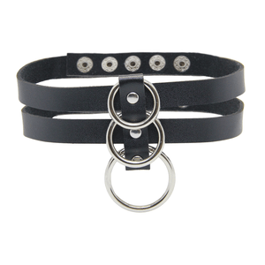Love in Leather 3 Ring Collar