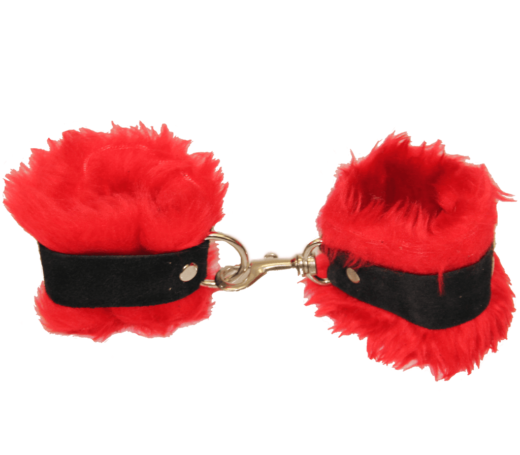 Love in Leather RED SOFT FLEECE CUFFS