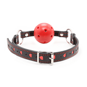 BERLIN BABY BREATHABLE RED BALL GAG RED HEART COLLAR