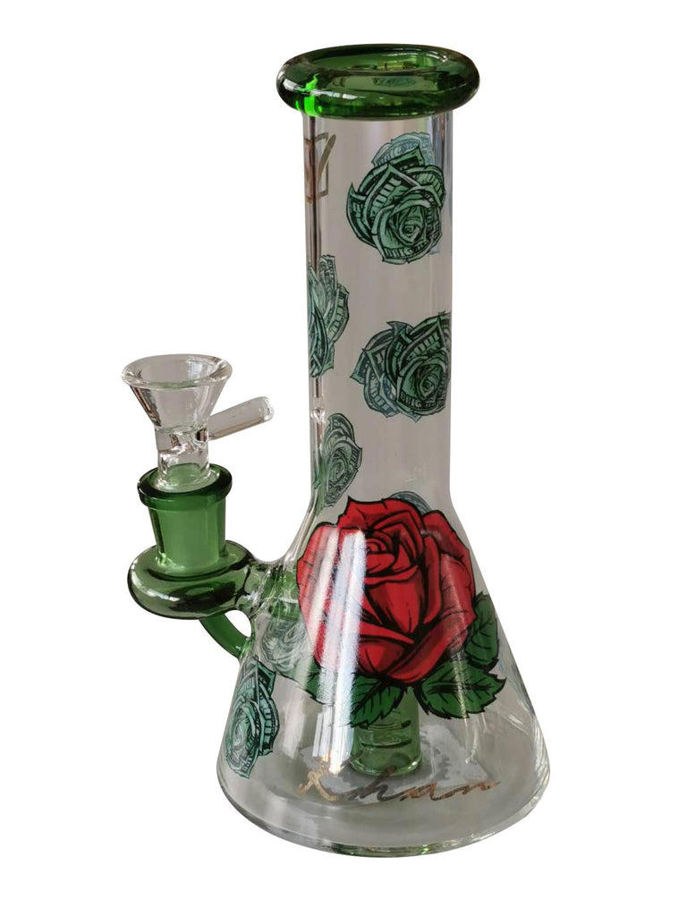 Dollar Rose Khan Glass Water Pipe