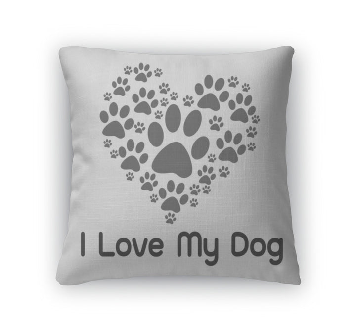 Throw Pillow, I Love Dog Symbol And Cute Dog