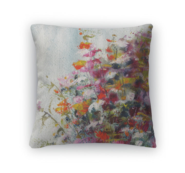 Throw Pillow, Pink And Red Flowers Art Painting