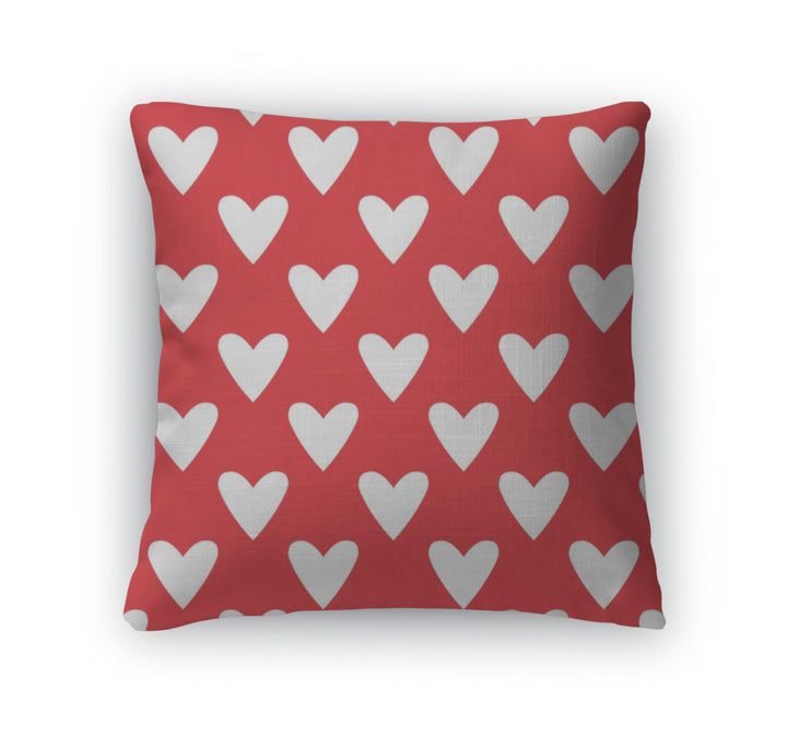 Throw Pillow, Tile Cute Pattern With White Hearts On Red