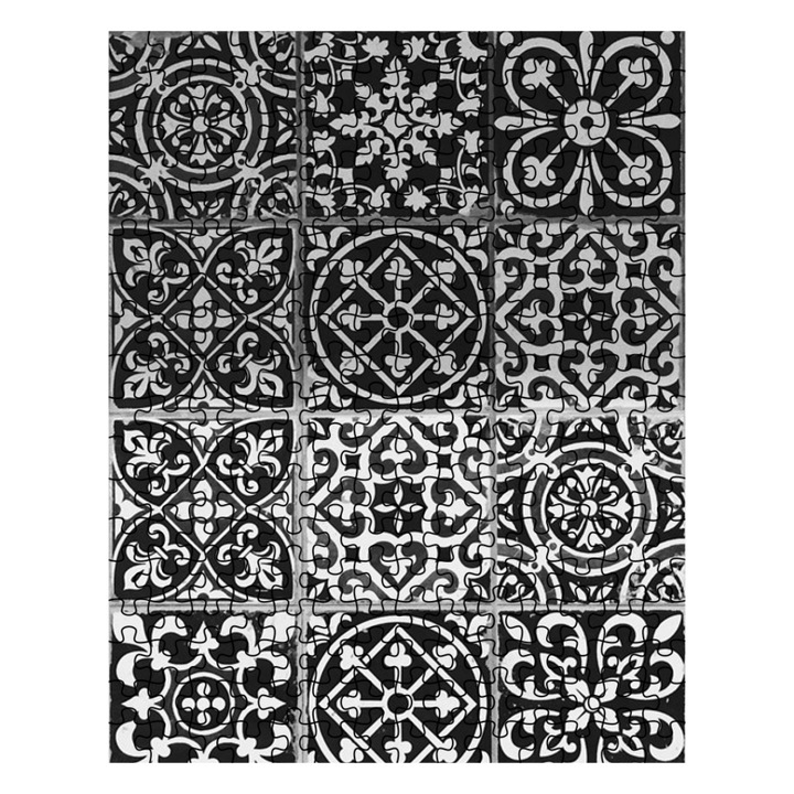 Puzzle - Black and White Tile Design