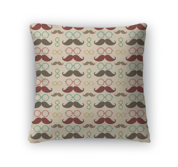 Throw Pillow, Pattern With Mustache And Glasses