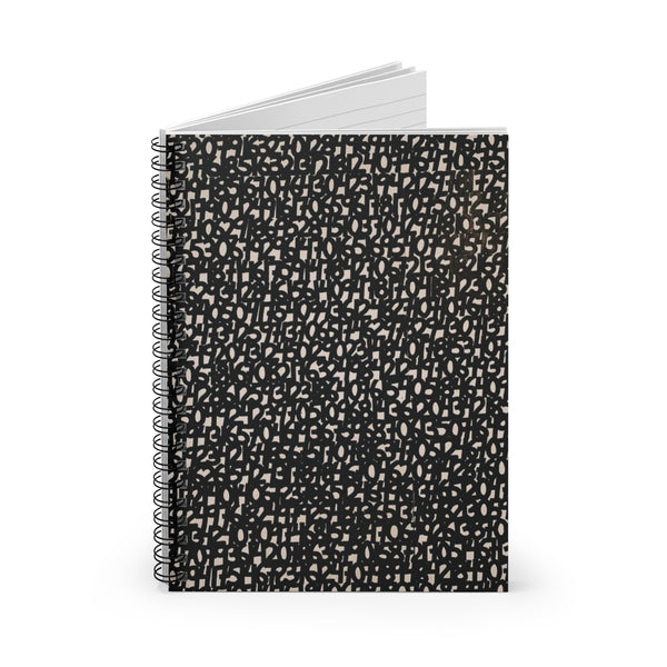 Black Numbers - Spiral Lined Notebook