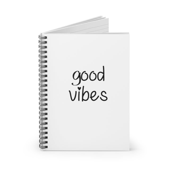 Good Vibes - White Cover - Spiral Lined Notebook