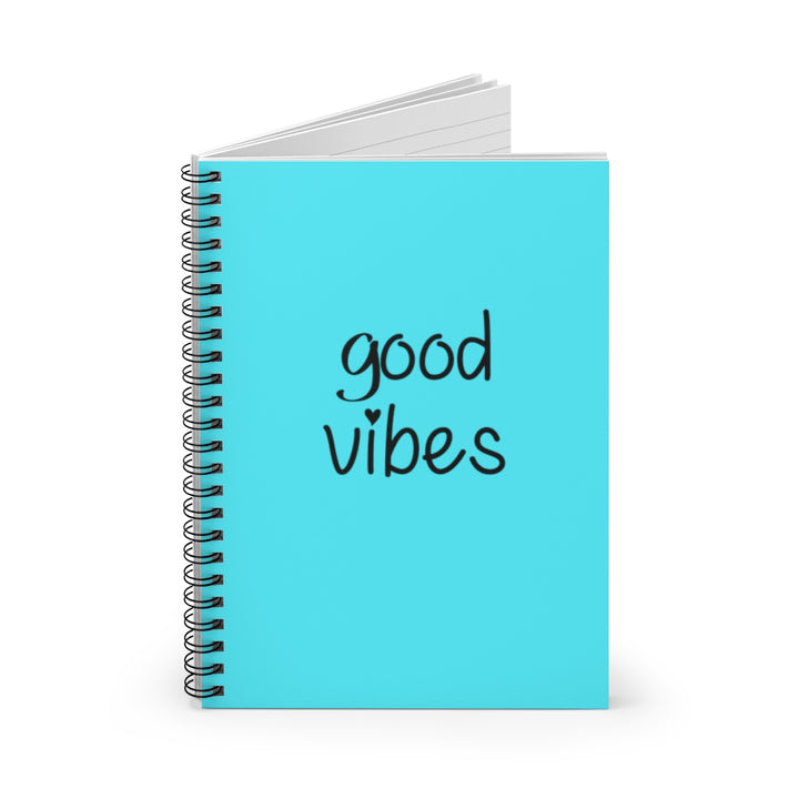 Good Vibes - Blue Cover - Spiral Lined Notebook