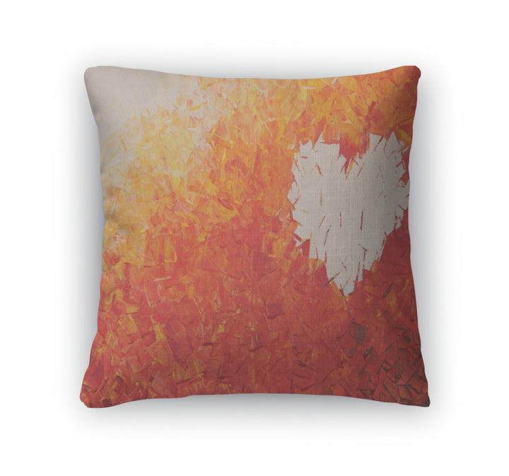 Throw Pillow, Heart On Fire Acrylic Painting