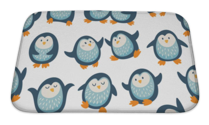 Bath Mat, Pattern With Funny Penguins