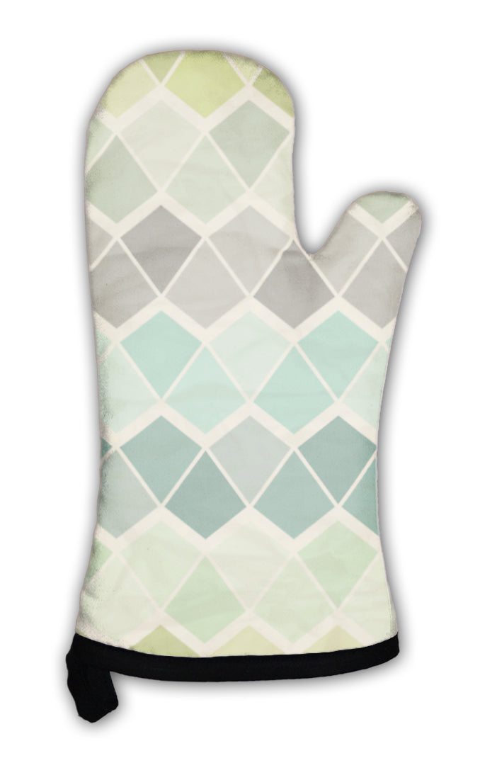 Oven Mitt, Retro Geometric Pattern