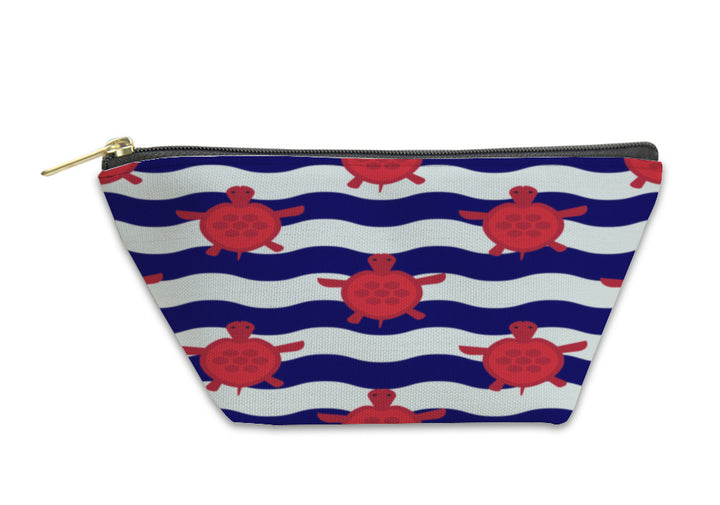 Accessory Pouch - Nautical Pattern with Little Red Turtles