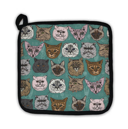 Potholder, Pattern With Cats Siamese British Siberian Persian Scottish Fold Maine Coon