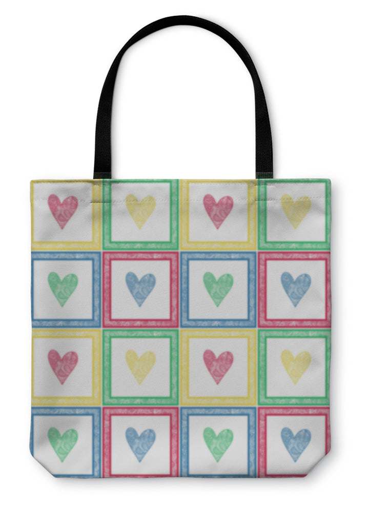 Tote Bag, Of Paisley Pattern Hearts