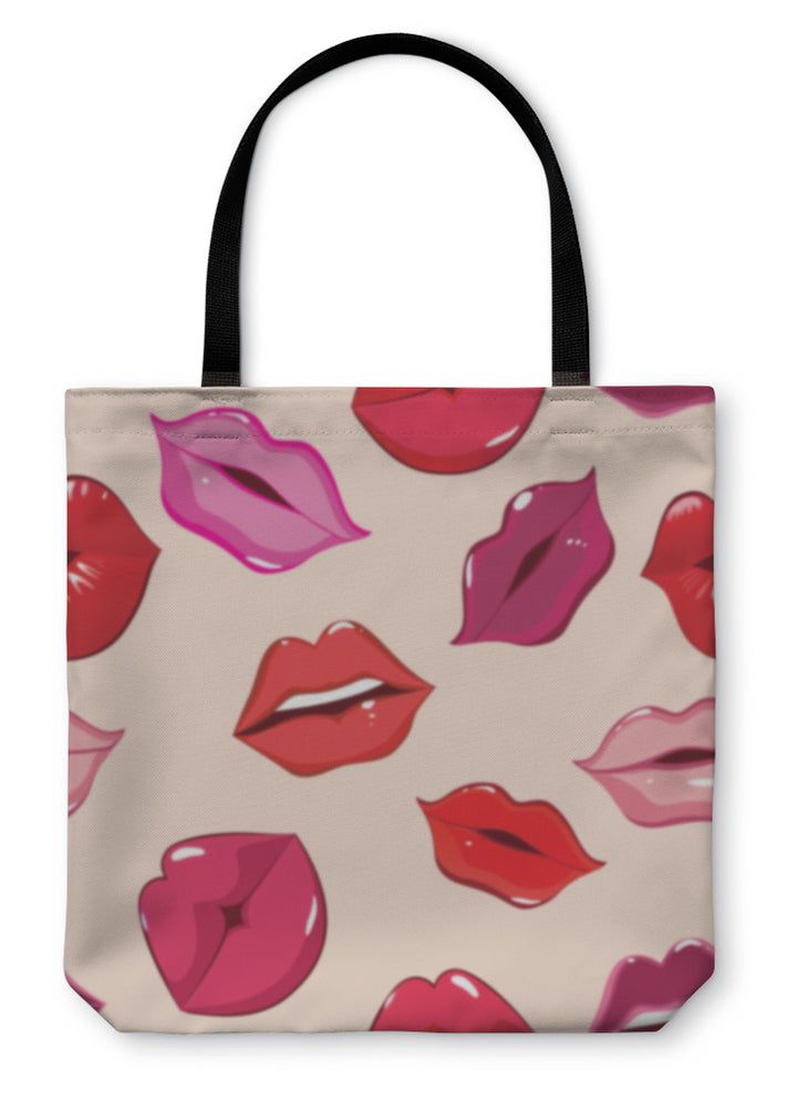 Tote Bag, Pattern Print Of Lips