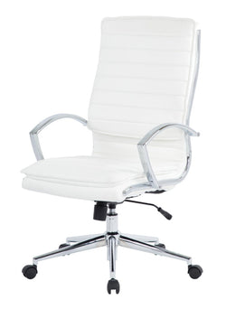 High Back Chair - White, Faux Leather