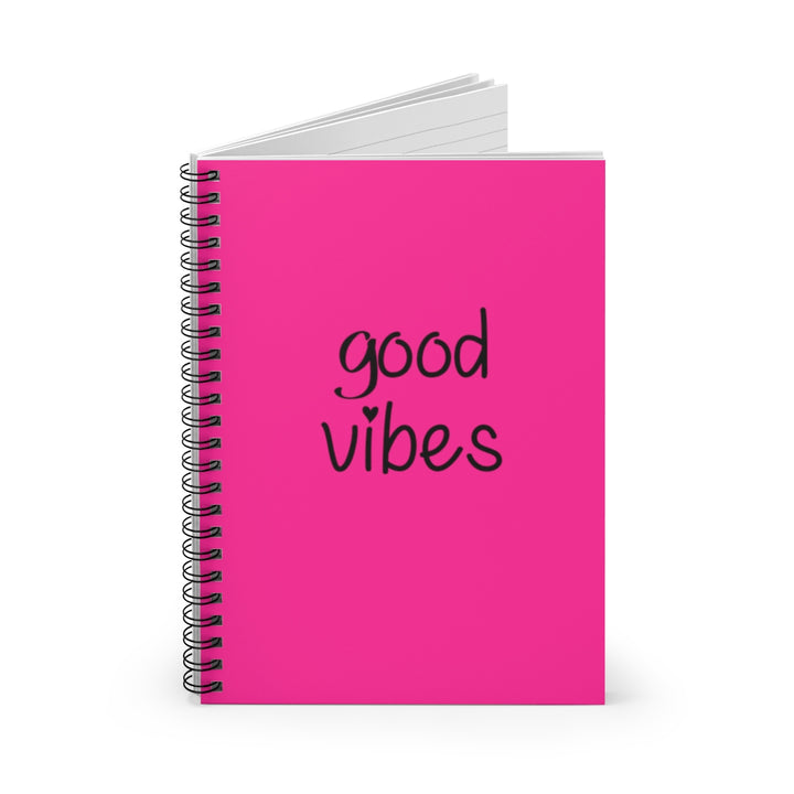 Good Vibes - Pink Cover - Spiral Lined Notebook