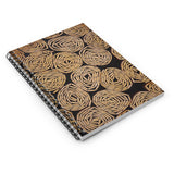 Black and Tan Circles - Spiral Lined Notebook