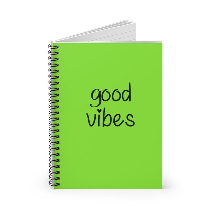 Good Vibes - Green Cover - Spiral Lined Notebook