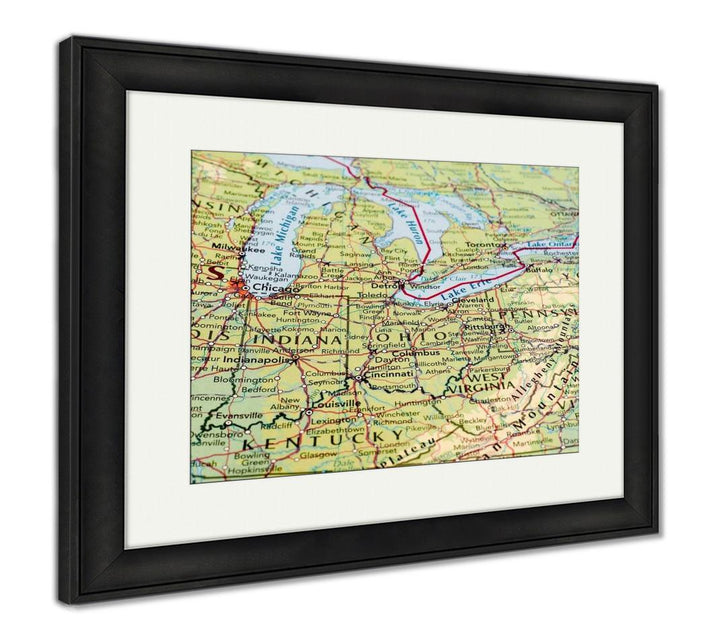 Framed Print - Map of the Midwest Great Lakes Region