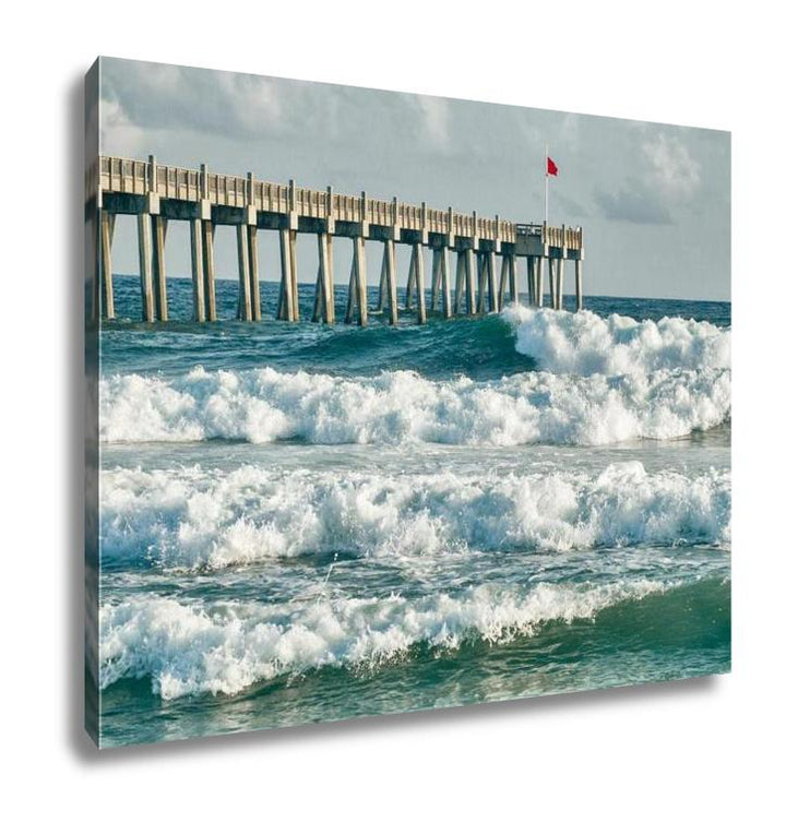 Gallery Wrapped Canvas - Surf's Up at the Pensacola Beach Fishing Pier