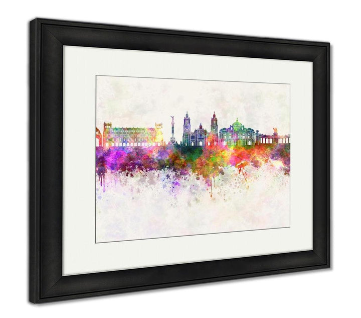 Framed Print - Watercolor Painting - Mexico City Skyline