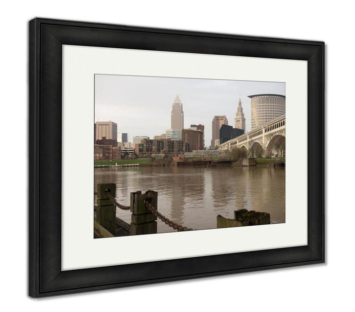 Framed Print - On the River - Afternoon Skyline in Cleveland, Ohio