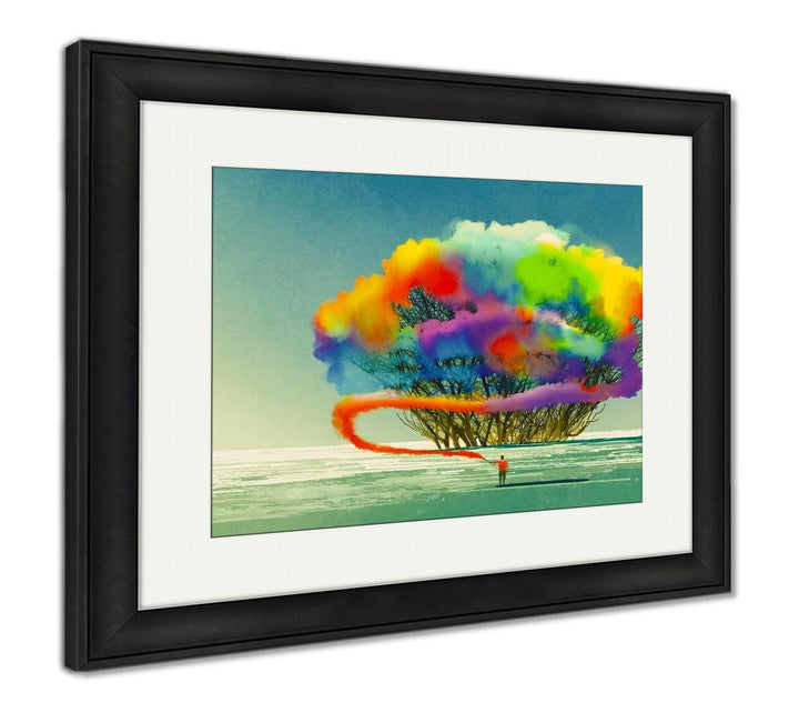 Framed Print - Abstract Colorful Tree - Painting