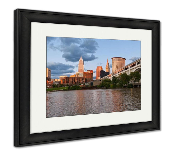 Framed Print - On the River - Twilight Skyline in Cleveland, Ohio