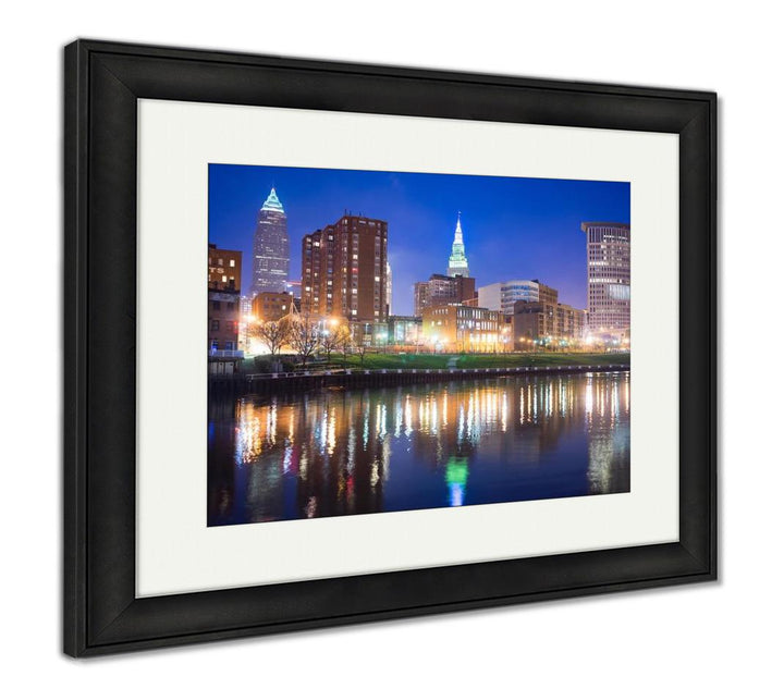 Framed Print - On the River - Evening Skyline lll in Cleveland, Ohio