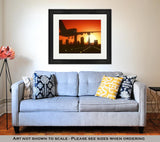 Framed Print - Sunrise Airplane Landing in Cleveland, Ohio - Illustration