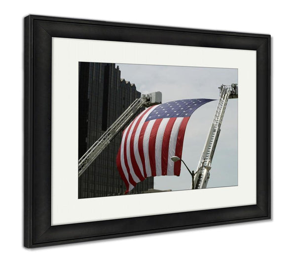 Framed Print - American Flag Hangs from a Fire Engine