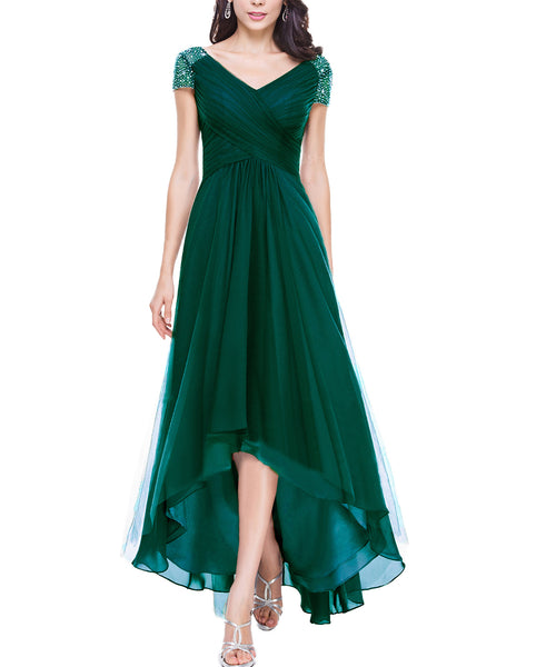 Dress On Sale! Unser USD100! Newly Prom Dress Long,Cap SLeeve Prom Dress,Empire Evening Dress,Charming Lady Prom Gowns,High-Low Prom Dress