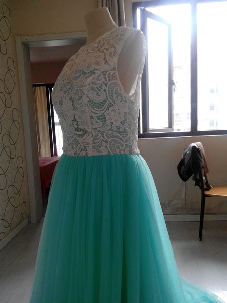 D227 Real Made Lace Top Mint Long Tulle Prom Gowns Evening Dresses,Bridesmaid Dresses