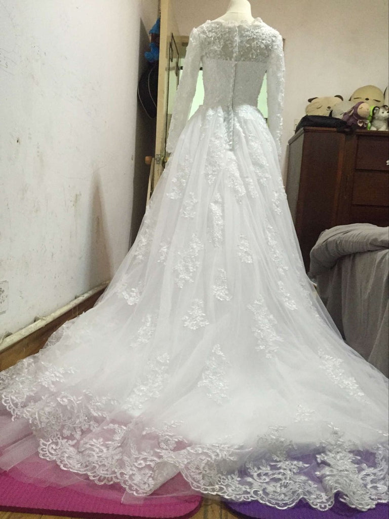 D228 Lace Long Sleeve Ball Gown Wedding Dresses, Real Photos ...