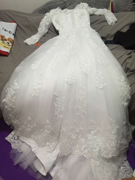 D228 Lace Long Sleeve Ball Gown Wedding Dresses, Real Photos Princesss Wedding Bridal Gowns