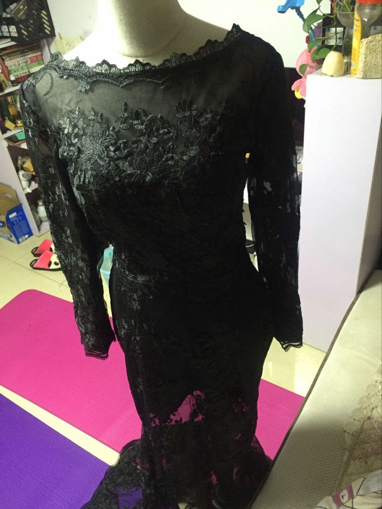 D229 Black Lace Long Sleeve Evening Dresses, Sexy See Through Evening Dresses