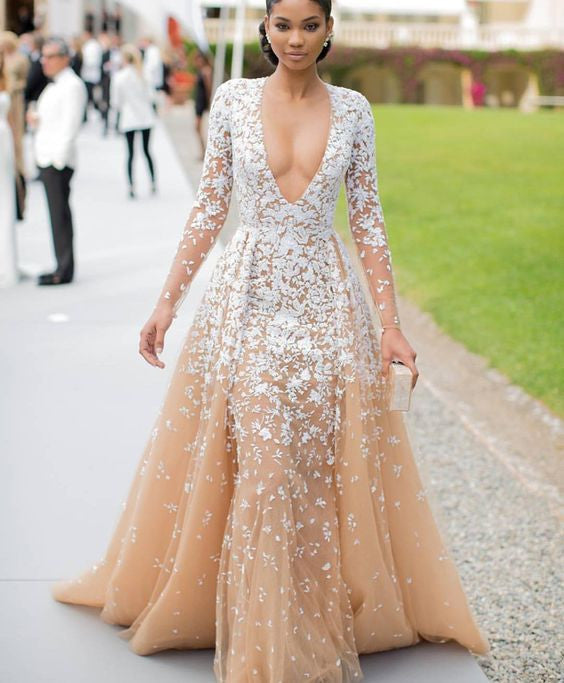 D231 Lace Long Sleeve Emboridery Champagne Prom Gowns, Evening Dresses