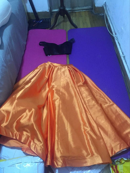 D233 Real Made Orange Two pieces Long prom Gowns, Evening Dresses