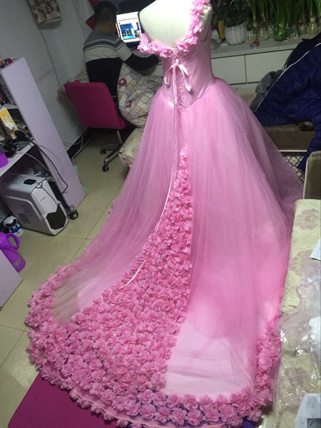 D234 Handmade Flower Wedding Bridal Gowns, Princess Charming Lady Wedding Dresses