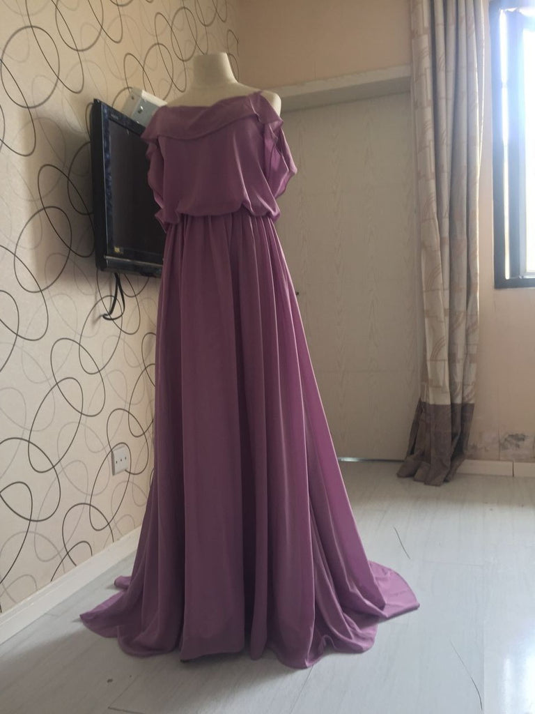 D236 Ruffles Spaghetti Straps Bridesmaid Dresses, Purple Chiffon ...