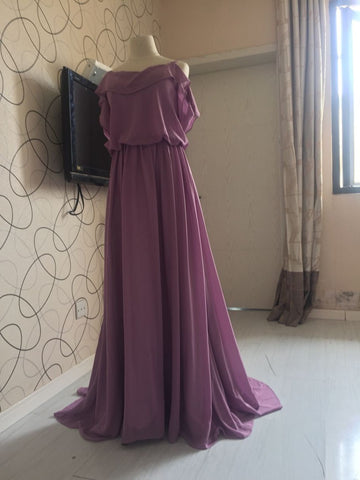 D236 Ruffles Spaghetti Straps Bridesmaid Dresses, Purple Chiffon Evening Dresses, Real Photo Dresses