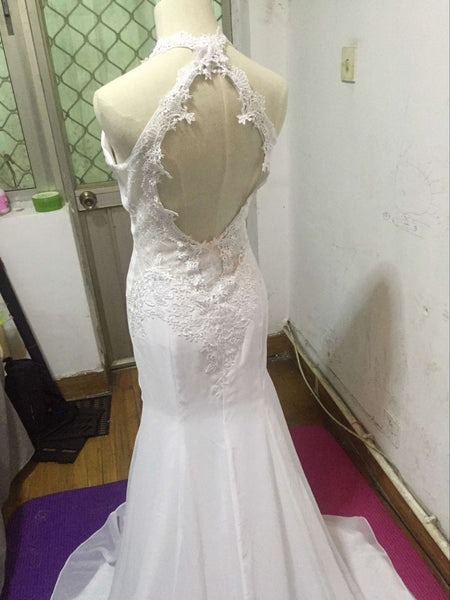 D238 Halter Lace Appliques Chiffon Wedding Dresses, Mermaid Beach Wedding Dresses