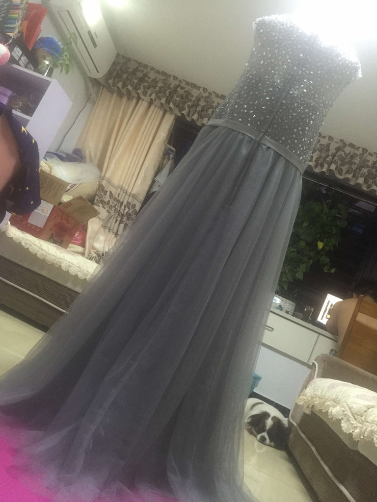 D239 Beaded Prom Gowns, Grey Tulle Evening Gowns, Empire Evening Dresses