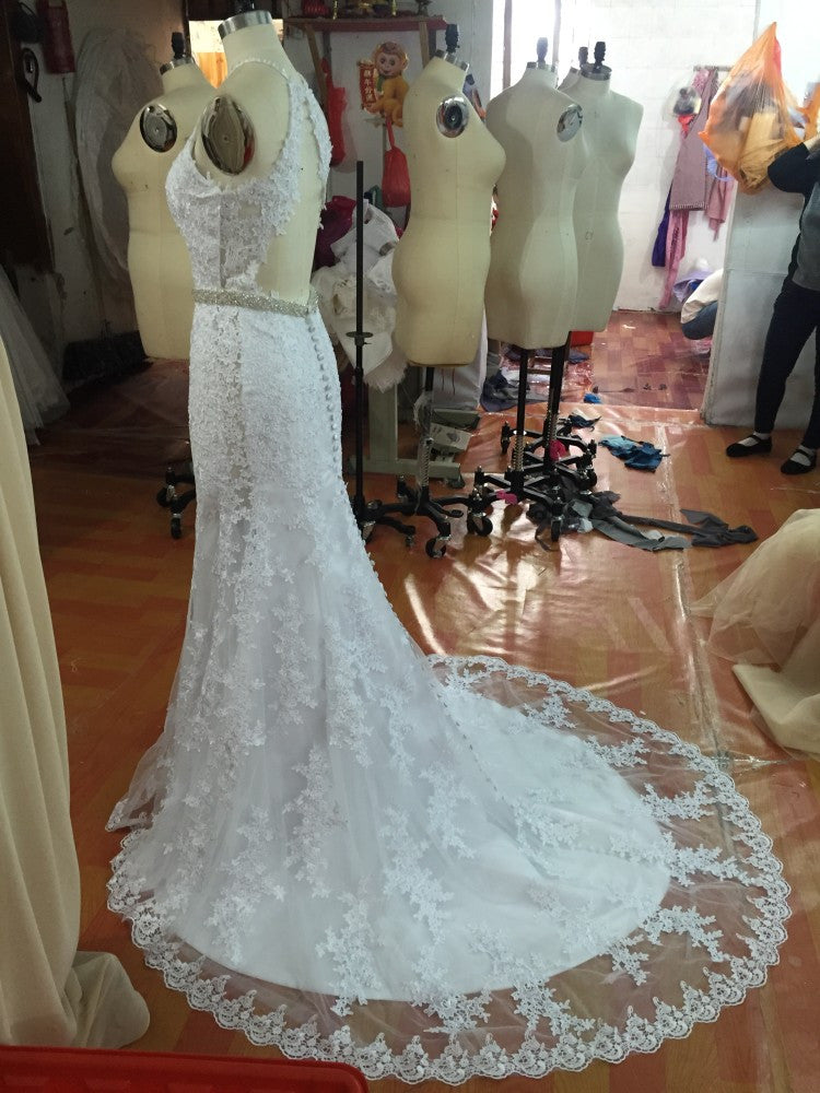 D240 Real Made Mermaid Long Wedding Bridal Gowns, Halter Backless ...